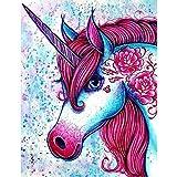 zhxx Malen Nach Zahlen Erwachsene Pferderotes Einhorn Tier DIY Digitale Wandkunst Leinwand Malerei Wohnkultur,Rahmenlos 16X20 Zoll