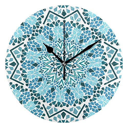 EZIOLY Tribal Moroccan Mosaic Wall Clock, 10 Inch Silent Non Ticking Quartz Battery Operated Round Wall Clocks for Home/Office/School Clock