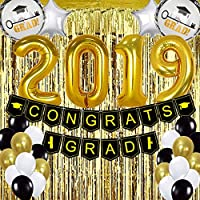 ATFUNSHOP Graduation Party Supplies 2019 - Pack of 68 Gold and Black Graduation Party Decorations - Graduation Banner Balloon Foil Fringe Curtain as Backdrop