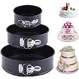Latauar Springform Cake Pan 3 pièces/Ensemble moules à gâteaux Anti-adhésifs à Forme élastique, Moule à gâteau Rond Professio