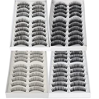 Arpoador 40 Pairs Black Thick Natural Long Makeup False Fake Eyelashes Extensions Set