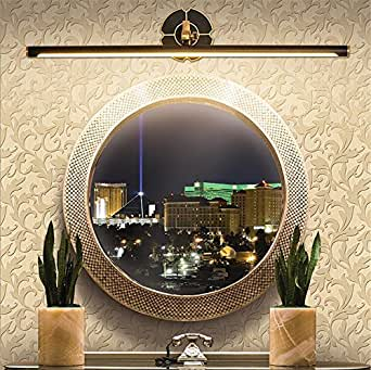 H&M Mirror Front Light Lamp Adjustable Angle LED Retro Classic Full Copper Wall Light Fixture Bathroom Lighting Picture Make Up For Bedroom Dresser Etc?Warm White? , 46cm