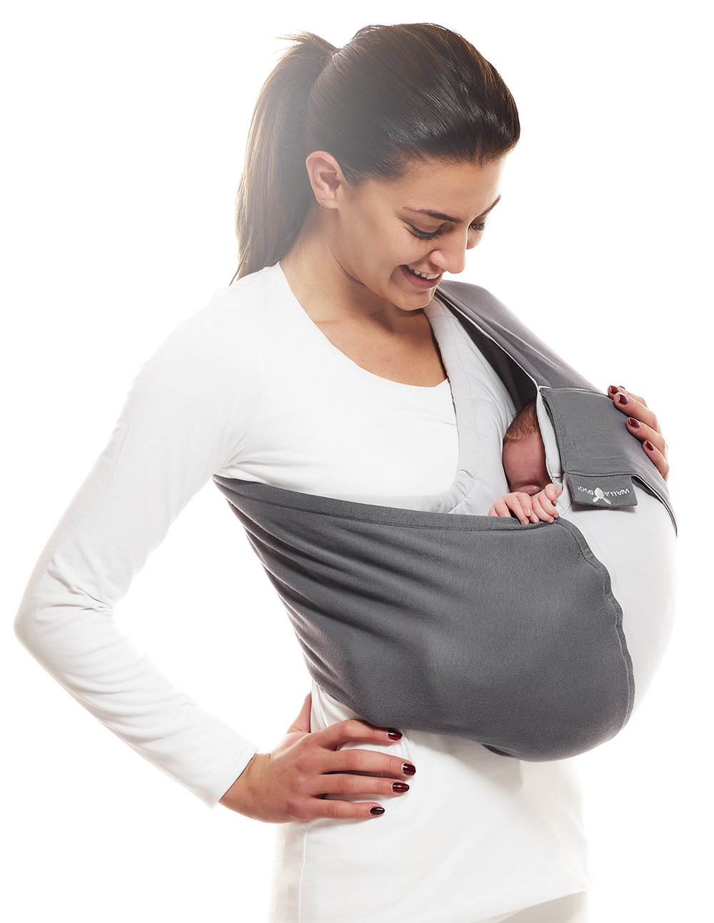 Wallaboo Wrap Sling Carrier Connection, Easy Adjustable, Ergonomic, 3 Carrying Positions, Newborn 8lbs to 33 lbs, Soft Breathable Cotton, 3 Sitting Positions, EU Safety Tested, Color: Grey / Silver Wallaboo Ergonomically correct design with three natural positions: sleep, sit and active- one size fits all Can be used from premature baby through to 33lbs - with easy-to-use features like a full-front opening and an adjustable back Single piece of fabric, no straps, belts or buckles - partly padded to give extra comfort- no wrapping, no hardware. ready to wear 7