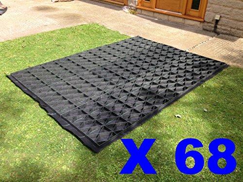 6,3 m² (convient 12 x 6 pieds Abris/les serres ou combinaisons de taille similaire) Grille de base pour abri de jardin kit complet de Eco + Heavy Duty Membrane Plastique Eco bases de pavés et les Grilles de disque