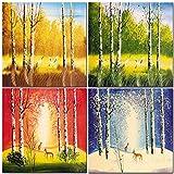 CUFUN - Herbst Winter Wald Deer Vier Jahreszeiten Foto Drucke auf Leinwand Frühling Sommer Wandkunst Bilder für Zuhause Shops 40x40 cm x 4 stücke