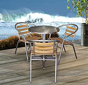 4tlg Bistro-Set Ø60cm Gartengarnitur Stapelstuhl Holzauflage Campingmöbel Terrassenmöbel Sitzgruppe