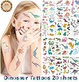 Dinosaurier Temporäre Tattoos für Jungen - 377 Tattoos (Packung mit 20 Blatt) - große Kinder Party Favors - Non Toxic FDA Zugelassene Farbstoffe - Gefälschte, Drücken Auf und Abnehmbare