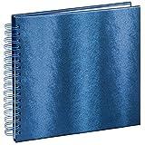 """Hama Spiral-Album """"Tango"""" (Buch mit 50 weißen Seiten und Spiralbindung, Einband in Kunstleder-Optik, Format 28x24cm) Fotobuch/Foto-Album/Spiral-Buch blau"""