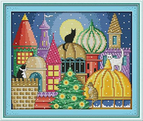 YEESAM ART Neu Kreuzstich Stickpackung - Katze Stadt Schloss 14 CT 30×25 cm DIY Stickerei Set Weiß Segeltuch - Kreuz Nähen Handarbeit Weihnachten Geschenke Cross Stitch Kit -