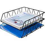 EasyPAG 2 Tier Stackable A4 Filing Trays Office Desk Tidy File Holder Document Letter Paper Organiser,Black