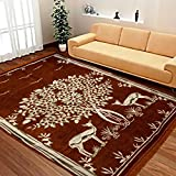 MBS Home Furnishing Ethnic Velvet Touch Abstract Chenille Carpet - 5 X 7 Feet, Mustard