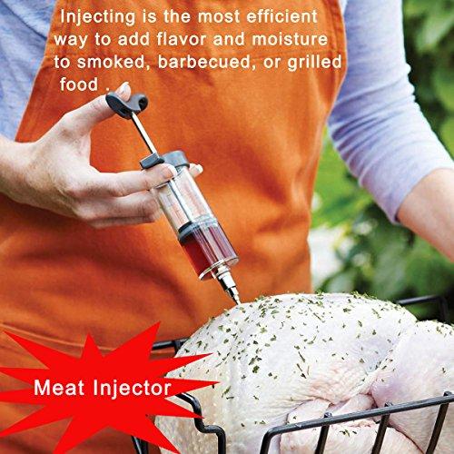 61h1SEr5TsL - POLIGO 9-teiliges Grill-Grill-Zubehör für den Grill Grill-Set - Spatel, Fleischklauen, Würze Flaschen, Fleisch-Injektor und ein praktisches Design Gürteltasche für die Lagerung - Ideal für das Kochen im Freien