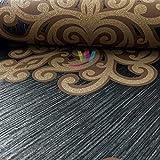P&S International Opal Damask Muster Tapete Metallische Glitzern Geprägt Motiv - Schwarz Bronze 02491-70