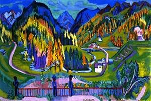 Peinture a l'huile - 24 x 16 inches / 61 x 41 CM - Ernst Ludwig Kirchner - Vallée de Sertig à l automne