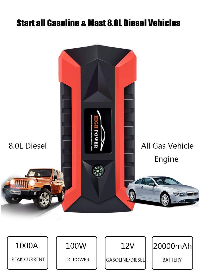 YDYJZN Arrancador De Coche Booster 800A 20000Mah Arrancador Batería Diesel Portátil Jump Starter Profesional Arranque…