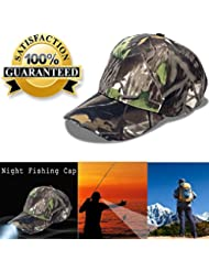 5LED gorra de béisbol gorro con luz para pesca y Huting, camuflaje