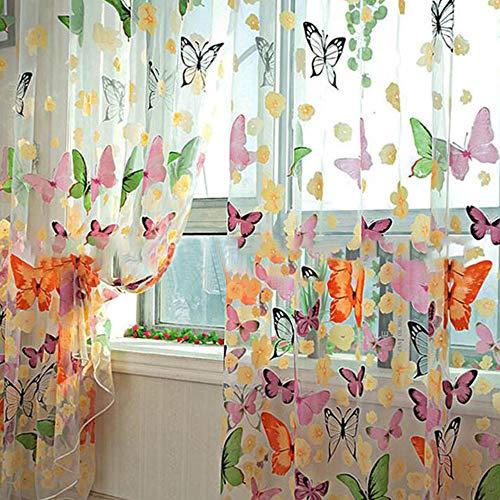 Hemore Schmetterlings-Vorhänge mit Blumenmotiv, 100 x 200 cm