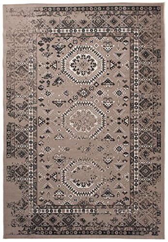 Carpeto Teppich Orientteppich Beige 160 x 230 cm Vintage Muster Flachgewebe Santorini Kollektion -