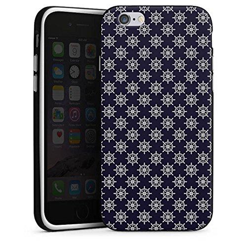 Apple iPhone X Silikon Hülle Case Schutzhülle Steuerrad Muster Matrose Silikon Case schwarz / weiß