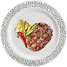 """Piatti di plastica con decoro pizzato lungo i bordi, usa e getta, per feste, 10 pezzi., White & Silver, 7.5"""" Dinner Plates"""