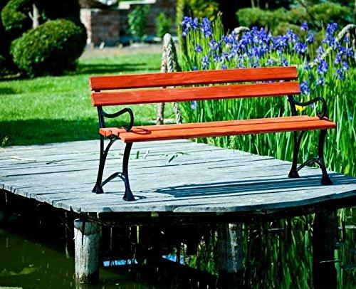 GOLD GARDEN Gartenbank mit Armlehnen TOSKANA Massivholz auf Aluminiumrahmen mahagoni in 2 Größen (150 cm - 3-Sitzer)