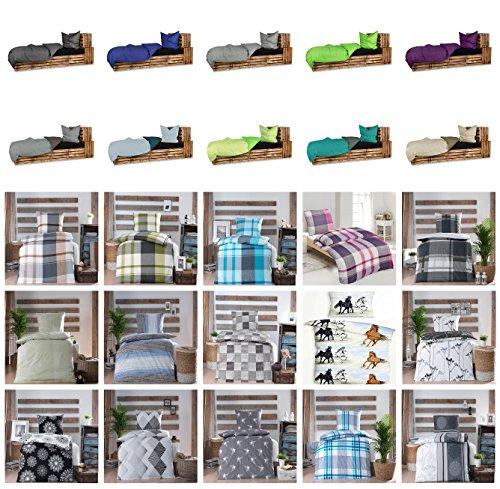 Baumwolle Renforcè Bettwäsche 2-4 teilig in verschiedenen Größen und viele Designs - 4 tlg. Set 2x135x200 + 2x80x80 cm Baumwolle Renforcè Bettwäsche Odin + GRATIS 1x Waschhandschuh von Falco