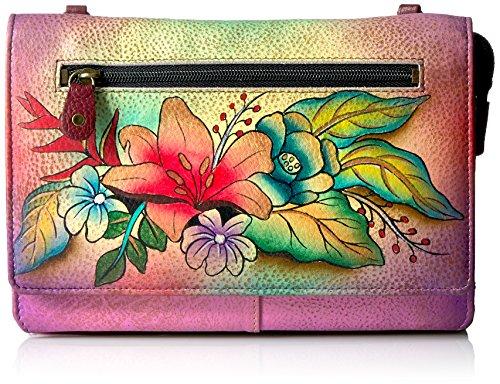 Anna by Anuschka Geldbörse mit Kordelzug, handbemalt, tropischer Blumenstrauß -