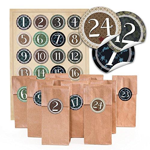 '24Marrone Carta Biscotti di Natale sacchetti con inserto pergamena (7x 4x 20,5cm) e 24rotonde adesivi 4cm autoadesive