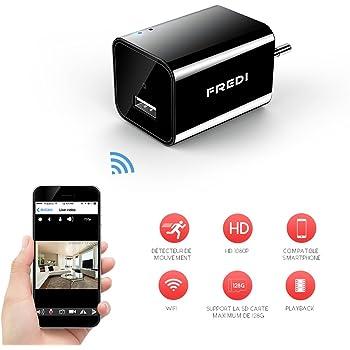 FREDI 1080P Mini Caméra Espion WiFi Caméscope Caché IP sans Fil Sécurité Caméra de Surveillance Chargeur USB Portable Détection de Mouvement (Jusqu'à 128 Go)