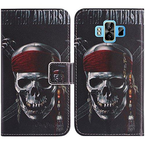 TienJueShi Totenkopf Flip Book-Style Brief Leder Tasche Schutz Hulle Handy Case Abdeckung Fall Wallet Cover Etui Skin Fur M-Horse Pure 1 5.7 inch