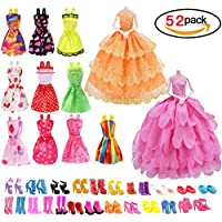 homiki 10 Stück Elegantes Kleid, 2 Stück, Mini-Kleider, Brautkleid, mit 40 Paar Verschiedenen Absatzschuhen, Stiefel, mehrfarbiges Outfit, Zubehör für Puppen, Geschenk zum Geburtstag