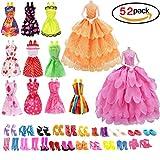 10Stück Kleid Eleganz und Videoleuchte Mini Kleider Strumpfband mit 40Paar verschiedene Schuhe zu High Heels Stiefel Sandale Mehrfarbig Outfit Zubehör für Puppe Geburtstagsgeschenk