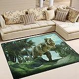 Jstel Ingbags Teppich, sehr weich, mit Dinosaurier-Motiv, moderner Läufer, extrem geschmeidig, für Wohnzimmer, Schlafzimmer, Kinder- und Spielzimmer, dekorativer Teppich, 160 x 122 cm, multi, 63 x 48 Inch