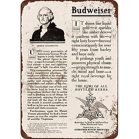 1908George Washington Infuso Birra Budweiser ad effetto vintage Riproduzione in metallo Tin Sign 17,8x 25,4cm