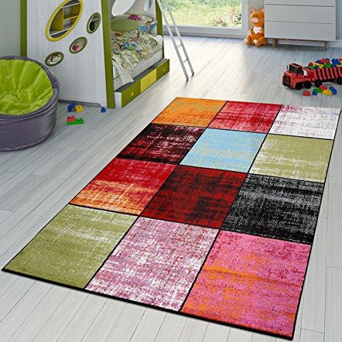 T&T Design Teppich Karo Rot Schwarz Grau Grün Pink Meliert Modern Wohnzimmer Kinderzimmer, Größe:120x170 cm - Wein Multi-teppiche