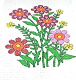 Easy Beginner and Starter Multi Coloured Flowers Plants Poster Cross Stitch Kit