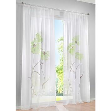 Amazonde KOU DECO Wohnzimmer Gardinen Voile Transparente Kruselband Vorhnge Mit Blumen Druck
