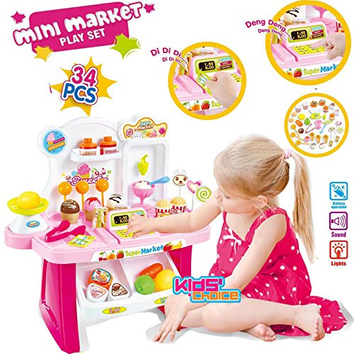Kids Choice Supermarket Shop Play Set Toy with Sound Effects, Multi Color