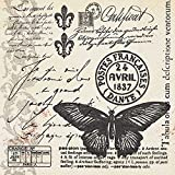 20 Servietten Butter-fly-mail - Schmetterlingspost / Vintage 33x33cm
