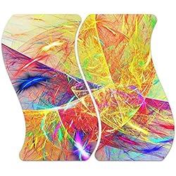 """'Cubiertas de cristal decorativa """"Fractal de cristal M. Noppen, enmarcado) y 2piezas, herdabdeckung, tabla de cortar, protección contra salpicaduras, para servir placas, designersgroup, Zweiteilig Welle"""