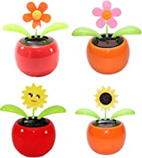 DELHITRADERSS® Set of 4 Dancing Flowers Daisy in Red Pot Solar Toy Flowers Car Dashboard Office Desk Home Décor