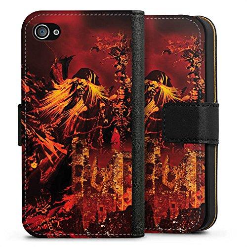 Apple iPhone X Silikon Hülle Case Schutzhülle Doro Feuer Blitz Sideflip Tasche schwarz