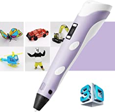 REES52 3D Pen, 3D LCD Printing Pen,1.75mm PLA ABS Drawing Model Making Doodle Arts & Crafts Drawing, Stimulate Childrens Creativity, Improve Spatial Thinking (Purple 3D pen),Christmas Gifts/ Present and Toys for Boys & Girls comes with 3 x 1.75mm ABS/PLA Filament