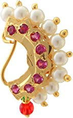 Biyu Maharashtrian Style Cz Pearl Gold Plated Pierced Nose Ring For Women