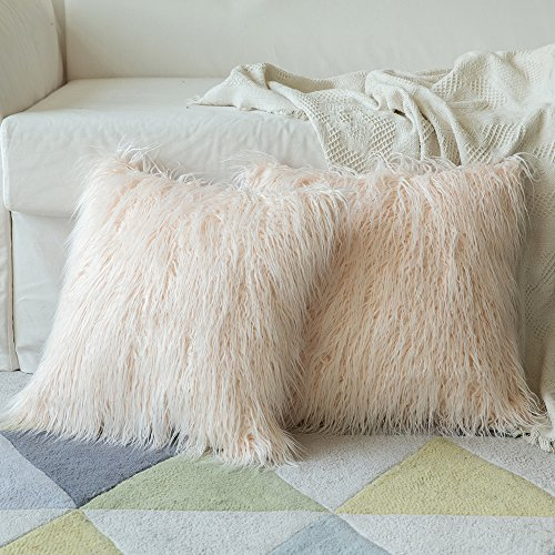 MIULEE 2er Set Soft Solid Dekorative Quadrat Pelz Throw Kissenbezüge Set Kissen Fall für Sofa Schlafzimmer Auto 20x20 Inch 50x50 cm Rosa