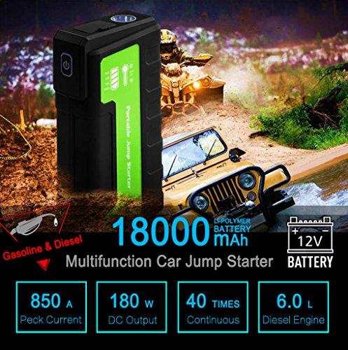 Maxesla Jump Starter de 18000mAh, 850A Batería Arrancador de Coche (Batería Externa Recargable, LED Flashlight,smartphones, tablets pc)