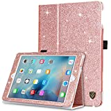iPad 2017 iPad 9.7 Inch Case, BENTOBEN Glitter Sparkly Folio Folding Stand Smart Cover Stylus Holder Auto Wake/Sleep Luxury Faux Leather Protective Cases for Apple iPad 9.7 Inch (2017), Rose Gold