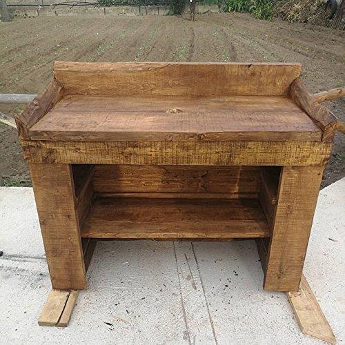 Wood art ely mobile bagno in legno massello vintage con specchiera,handmade,dimensioni 120x50x80/85 h-su richiesta altre misure