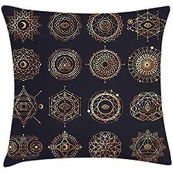 MeiMei2 - Funda de cojín, diseño de Mandalas Redondas con Formas de geometría Sagrada, decoración de alquimia, 45,7 x 45,7 cm, Color Azul Oscuro y Amarillo