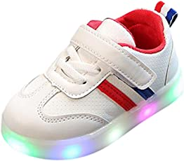 Moonface Toddler Kids Children Baby Striped Shoes LED Light Up Luminous Sneakers